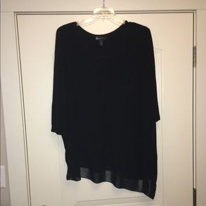 Lane Bryant Asymmetrical Black V neck Tunic 26/28